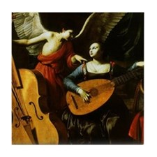 Saint Cecilia and the Angel by Sarace Tile Coaster
