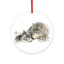 Watercolor Wolf Parent Cubs Ornament (Round)