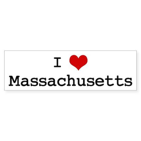 I Love Massachusetts Bumper Sticker