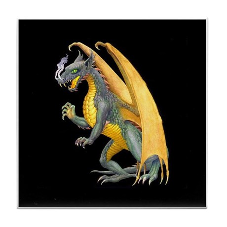 Fire Breathing Dragon Tile Coaster