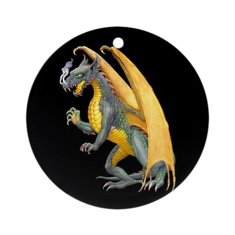 Fire Breathing Dragon Ornament (Round)