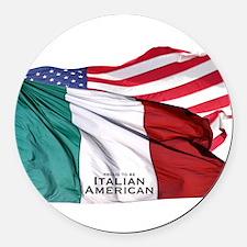 Italian American Round Car Magnet