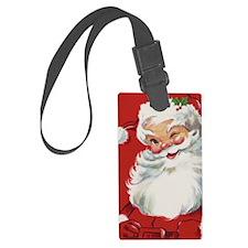 Vintage Christmas Jolly Santa Cl Luggage Tag