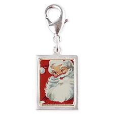 Vintage Christmas Jolly Sant Silver Portrait Charm