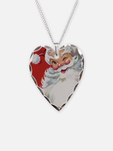 Vintage Christmas Jolly Santa Necklace Heart Charm