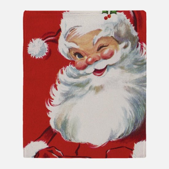 Vintage Christmas Jolly Santa Claus Throw Blanket