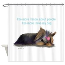 ByCatiaCho Yorkie L.Thinker Shower Curtain