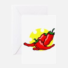 peppers on side chewed sun Greeting Card