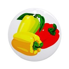 two yellow peppers one red Ornament (Round)