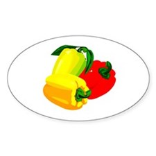 two yellow peppers one red Decal