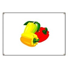 two yellow peppers one red Banner