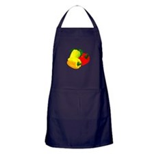 two yellow peppers one red Apron (dark)