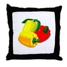 two yellow peppers one red Throw Pillow