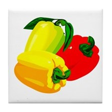 two yellow peppers one red Tile Coaster