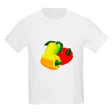 two yellow peppers one red T-Shirt