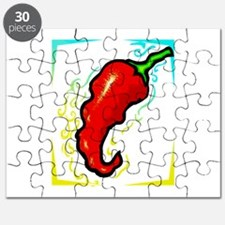 Jagged red pepper yellow blue frame Puzzle