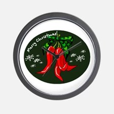 merry christmas red pepper design Wall Clock