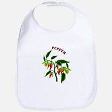 Pepper plant graphic with word pepper Bib