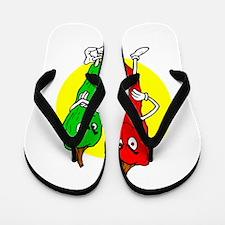 Pepper thugs red green w yellow ciricle Flip Flops