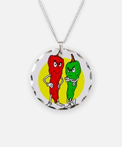Pepper thugs red green w yellow ciricle Necklace