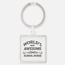 World's Most Awesome School Nurse Square Keychain