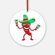 Pepper maracas sombrero sunglasses Ornament (Round