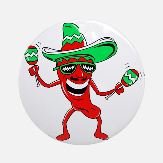 Pepper maracas sombrero sunglasses Ornament (Round