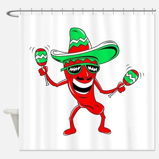 Pepper maracas sombrero sunglasses Shower Curtain
