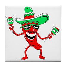 Pepper maracas sombrero sunglasses Tile Coaster