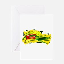 peppers scallions on yellow bg graphic Greeting Ca