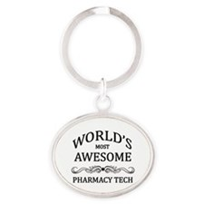 World's Most Awesome Pharmacy Tech Oval Keychain