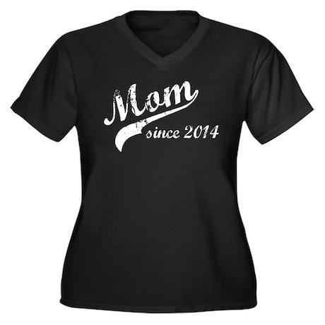 New Mom Since 2014 Women's Plus Size V-Neck Dark T