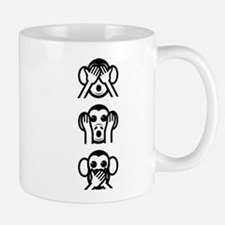 Three Wise Monkeys Emoji Vertical Small Mug