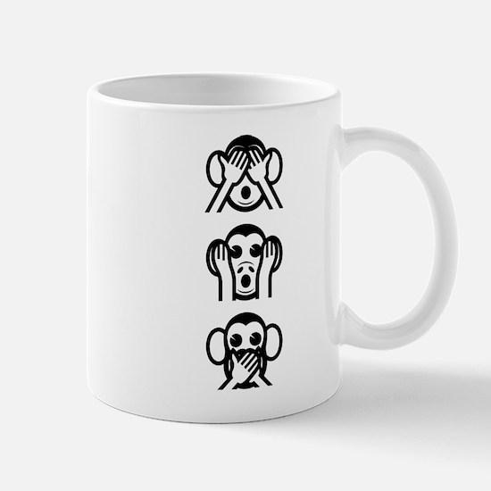 Three Wise Monkeys Emoji Vertical Small Mug