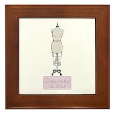 Dressmaker At Work Framed Tile