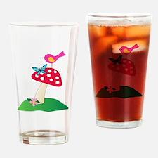 Toadstool w/ Butterfly & Bird Drinking Glass