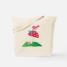 Toadstool w/ Butterfly & Bird Tote Bag