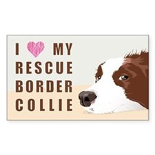 I love my rescue Border Collie Red Decal