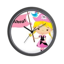 Pink Pirate Girl Wall Clock