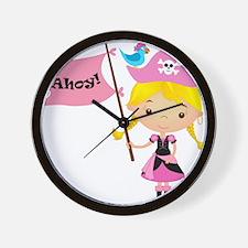 Pink Pirate Girl Wall Clock
