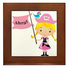 Pink Pirate Girl Framed Tile