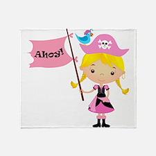 Pink Pirate Girl Throw Blanket