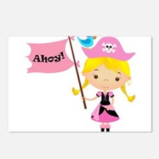 Pink Pirate Girl Postcards (Package of 8)