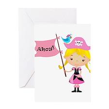 Pink Pirate Girl Greeting Card
