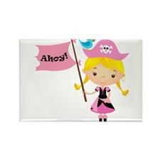 Pink Pirate Girl Rectangle Magnet