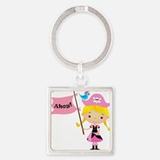 Pink Pirate Girl Square Keychain