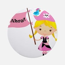 Pink Pirate Girl Ornament (Round)