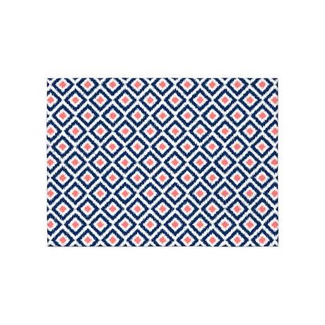 Navy Blue Coral Ikat Pattern 5 X7 Area Rug By Mcornwallshop