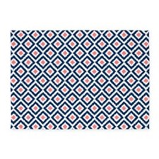 Navy Blue Coral Ikat Pattern 5'x7'Area Rug