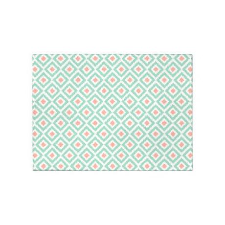 Mint Coral Ikat Pattern 5'x7'Area Rug